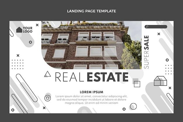Page de destination de l'immobilier géométrique de conception plate
