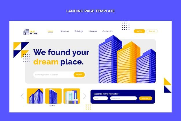 Page de destination de l'immobilier géométrique plat