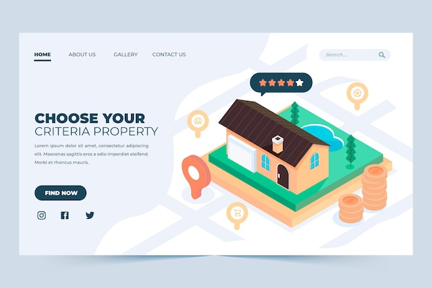Page de destination immobilière isométrique
