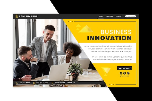 Page de destination de l'innovation commerciale