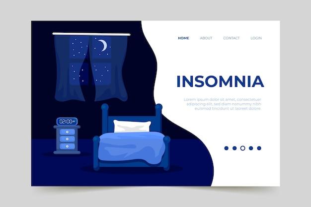 Page de destination de l'insomnie design plat