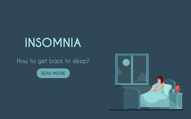 Page de destination de l'insomnie avec malheureuse jeune femme au lit avec trouble du sommeil la nuit