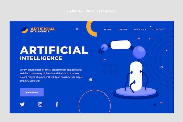 Page de destination de l'intelligence artificielle au design plat