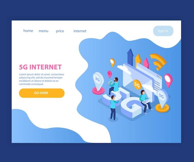 Page de destination internet isométrique 5g