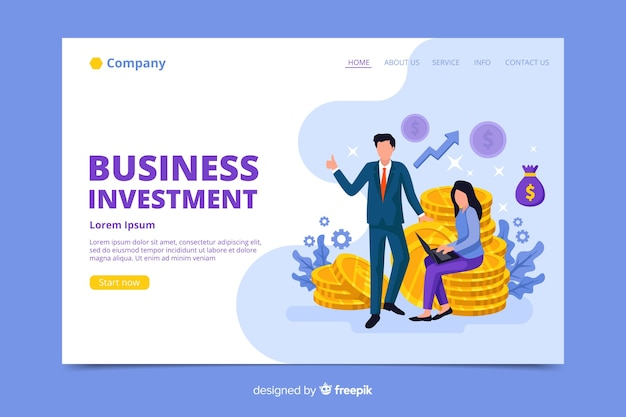 Page de destination de l'investissement des entreprises