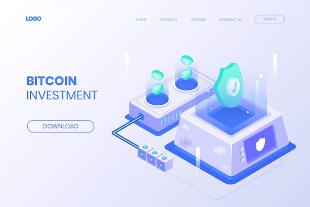 Page de destination d'investissement isométrique bitcoin