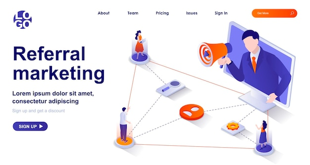 Page de destination isométrique 3d de marketing de référence avec des personnages de personnes