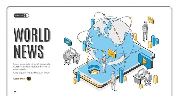 Page de destination isométrique de l'actualité mondiale, entreprise de médias