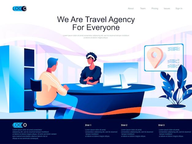 Page de destination isométrique de l'agence de voyage avec situation de caractères plats