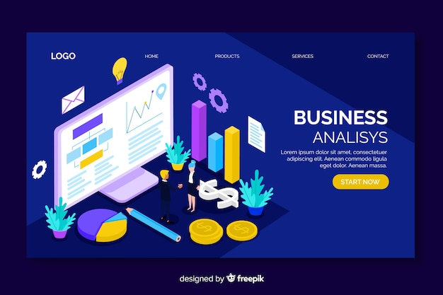 Page de destination isométrique d'analyse commerciale