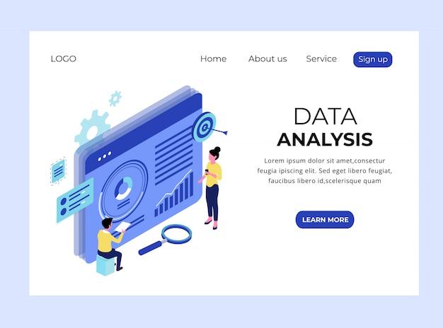 Page de destination isométrique de l'analyse des données