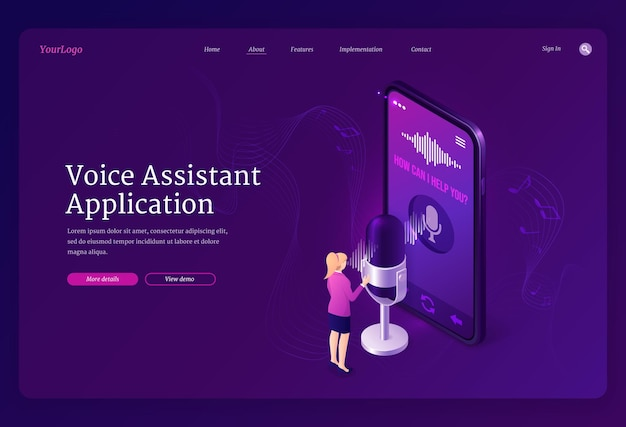 Page de destination isométrique de l'application assistant vocal