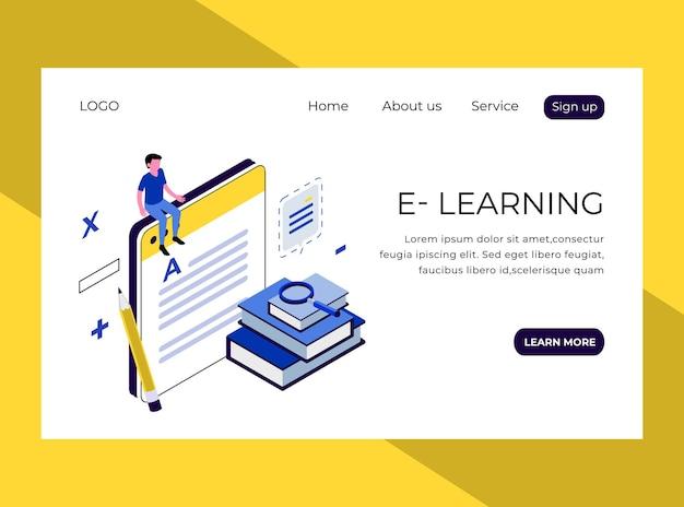 Page de destination isométrique de l'apprentissage en ligne