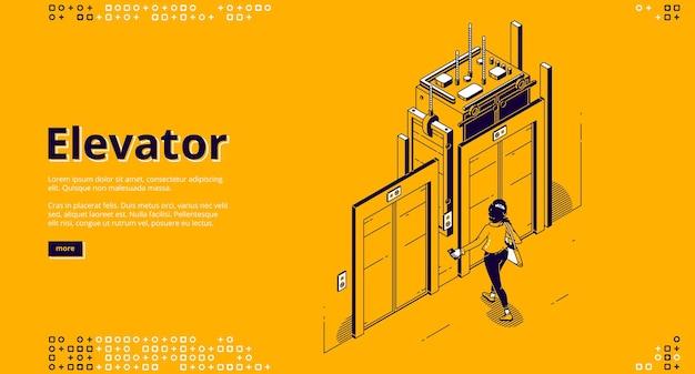 Page de destination isométrique de l'ascenseur