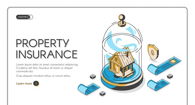 Page de destination isométrique de l'assurance des biens