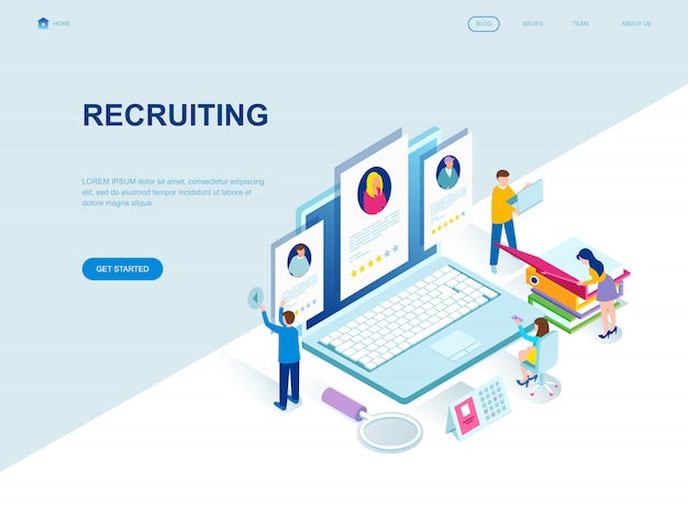 Page de destination isométrique au design plat moderne du recrutement