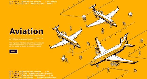 Page de destination isométrique de l'aviation.