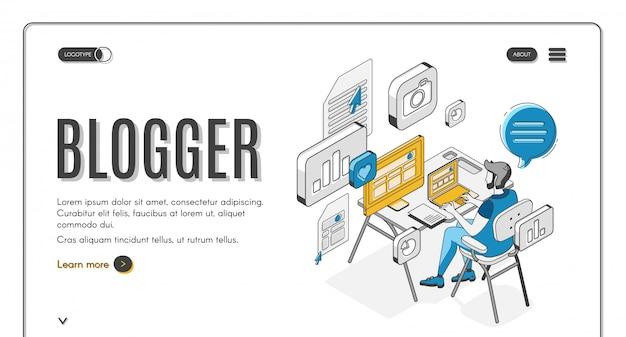 Page de destination isométrique de blogger, médias sociaux.