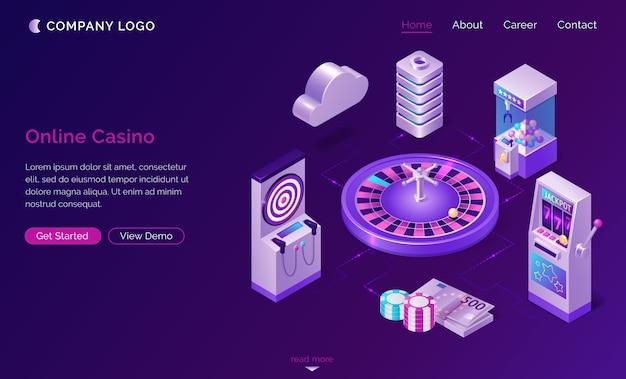 Page de destination isométrique de casino en ligne, bannière web