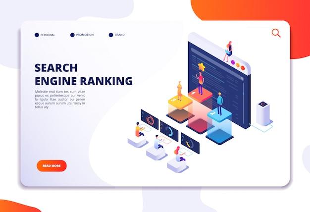 Page de destination isométrique de classement des moteurs de recherche. marketing et analyse seo, résultat du classement en ligne. 4ir concept 3d