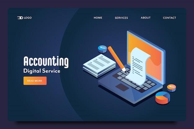 Page de destination isométrique de comptabilité