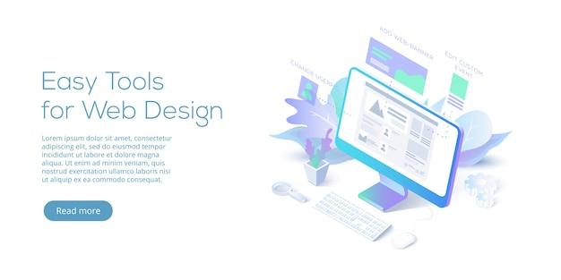 Page de destination isométrique conceptuelle de conception web