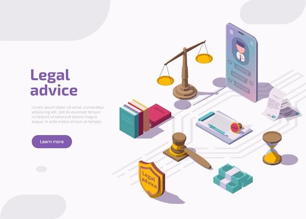 Page de destination isométrique des conseils juridiques.