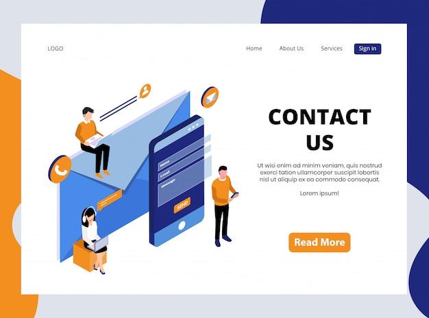 Page de destination isométrique de contactez-nous