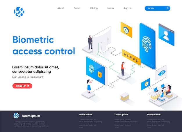 Page de destination isométrique de contrôle d'accès biométrique