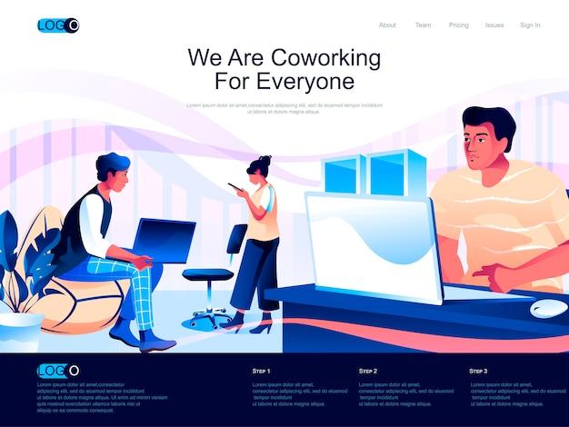 Page de destination isométrique de coworking avec situation de personnages plats