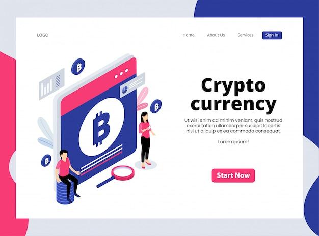 Page de destination isométrique de la crypto-monnaie