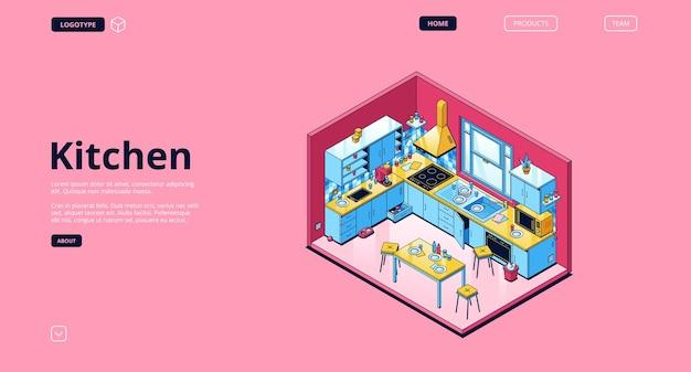 Page de destination isométrique de la cuisine à domicile
