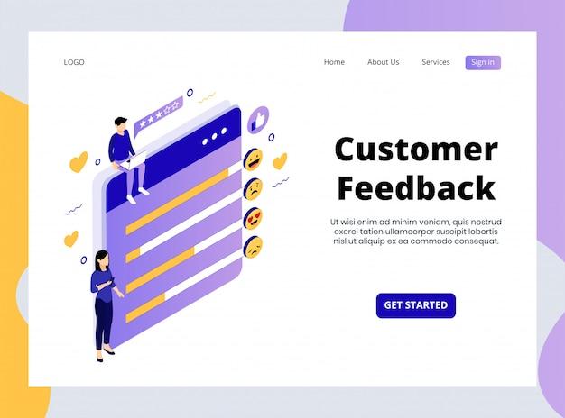 Page de destination isométrique de customer feedback premium
