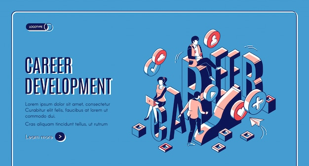 Page de destination isométrique de développement de carrière