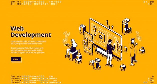 Page de destination isométrique de développement web, codage