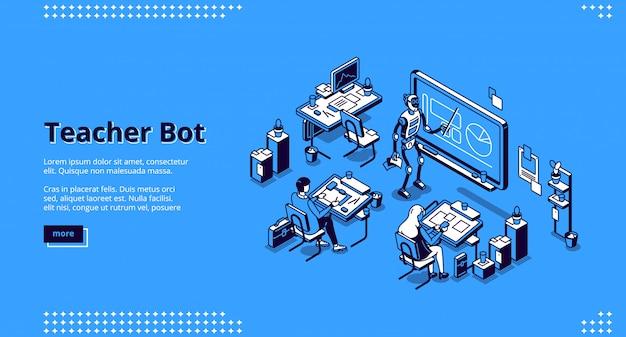 Page de destination isométrique du bot enseignant. tuteur cyborg