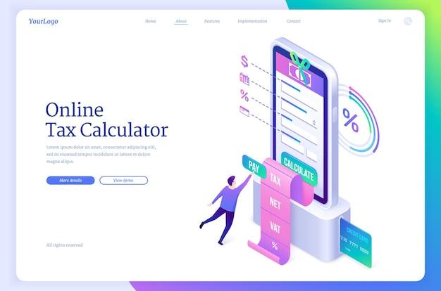 Page de destination isométrique du calculateur d'impôt en ligne