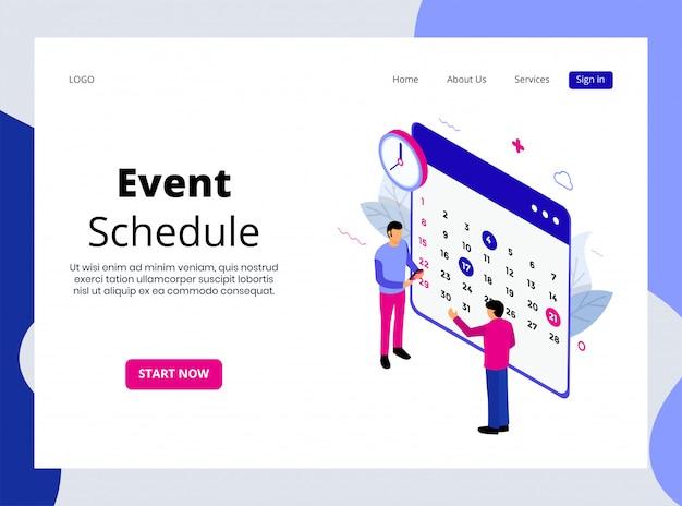 Page de destination isométrique du calendrier des événements