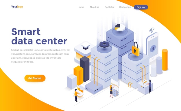 Page de destination isométrique du centre de données intelligent