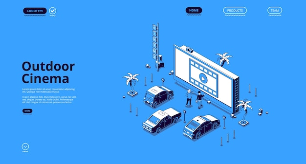 Page de destination isométrique du cinéma en plein air