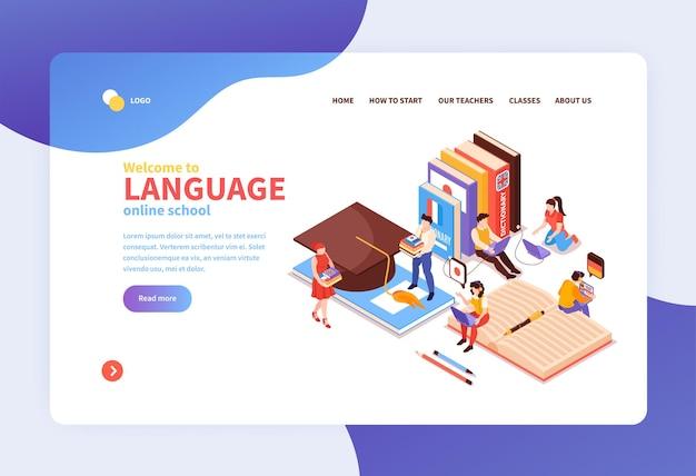 Page de destination isométrique du concept de centre de langue en ligne