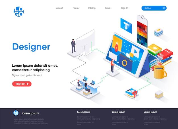 Page de destination isométrique du concepteur