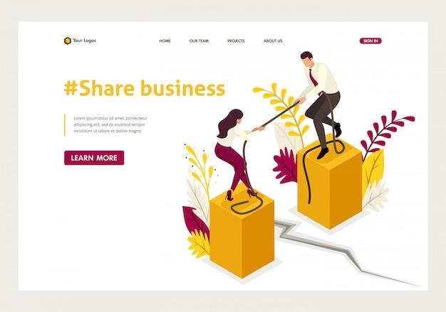 Page de destination isométrique du conflit de partenaires et des désaccords dans les affaires.