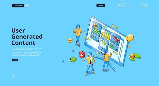 Page de destination isométrique du contenu généré par l'utilisateur