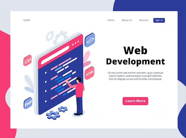 Page de destination isométrique du développement web
