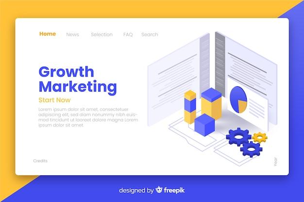 Page de destination isométrique du marketing de croissance