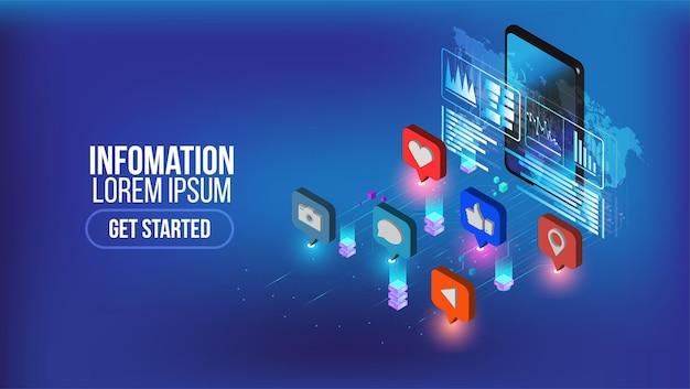 Page de destination isométrique du marketing des médias sociaux avec personnage. concept d'informations publicitaires. modèle de site web vectoriel avec stratégie d'illustrateur 3d, dessin au trait, page de destination.
