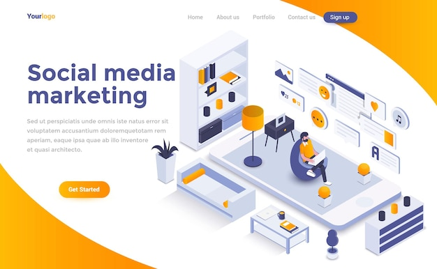 Page de destination isométrique du marketing des médias sociaux