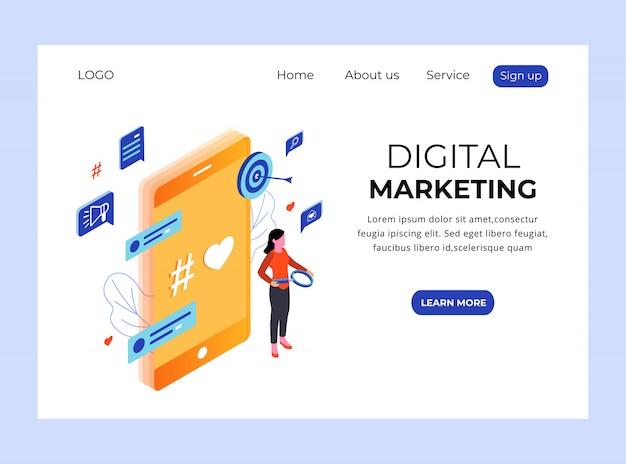Page de destination isométrique du marketing numérique