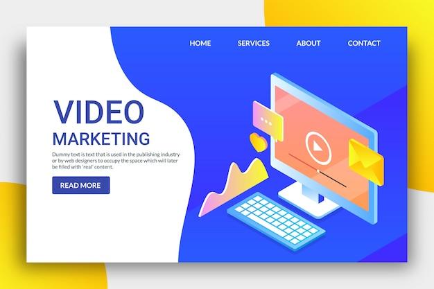 Page de destination isométrique du marketing vidéo